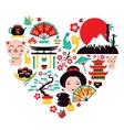 Japan symbols heart vector