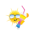Sun with sunglass and cocktail art vector