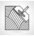 Black line icon for spatula vector