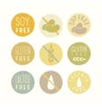 Soy gluten lactose free signs vector