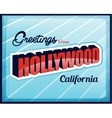 Vintage touristic greeting card hollywood vector