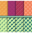 Set of fruits seamless patterns vector