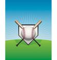 Baseball background ball and bats vector