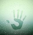 Handprint on sweaty window vector