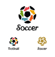 Hand drawn logo soccer ball and football boots vector