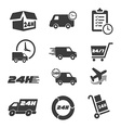 Various postage and support related icon set vector
