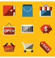 Flat icon set shop vector
