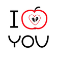 Red apple with heart shape i love you card flat vector