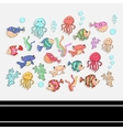 Sea setscrapbook setsticker vector