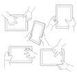 Childs hands holding a tablet vector