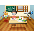 A boy inside a science laboratory vector