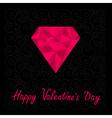 Big pink polygonal diamond happy valentines day vector