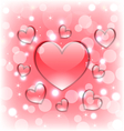 Shimmering background with glassy hearts for vector