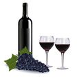 A wine bottle two glasses vector