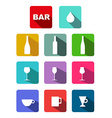 Bottles glasses cups icons set with long shadow vector