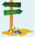Road sign for the paradise beach vector