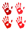 Set of hand print with heart icon vector