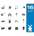 Black farming icons set on white background vector