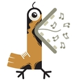 Singing cartoon bird vector