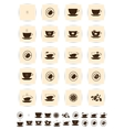 Brown coffee icons set cup cafe icon vector