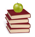 Green apple laying on the book vector