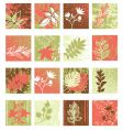 Set of grunge floral icon vector