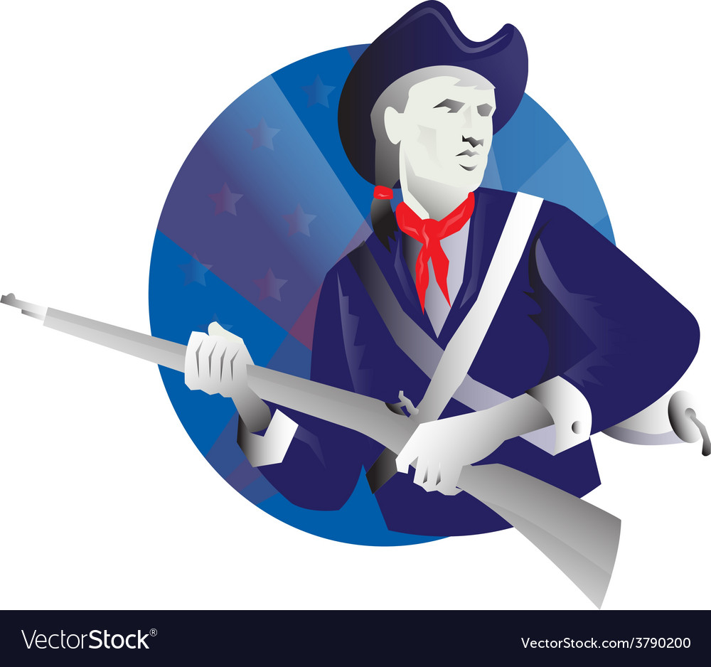 American minuteman revolutionary soldier vector | Price: 1 Credit (USD $1)