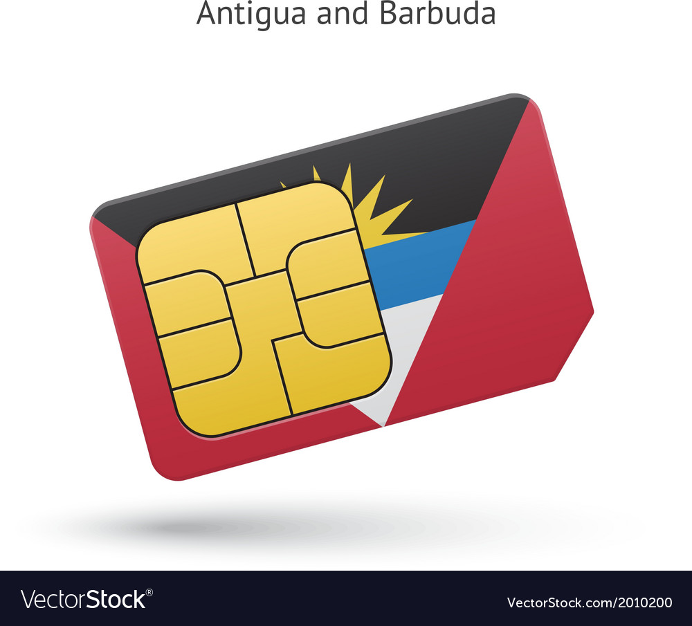 Antigua and barbuda phone sim card with flag vector | Price: 1 Credit (USD $1)