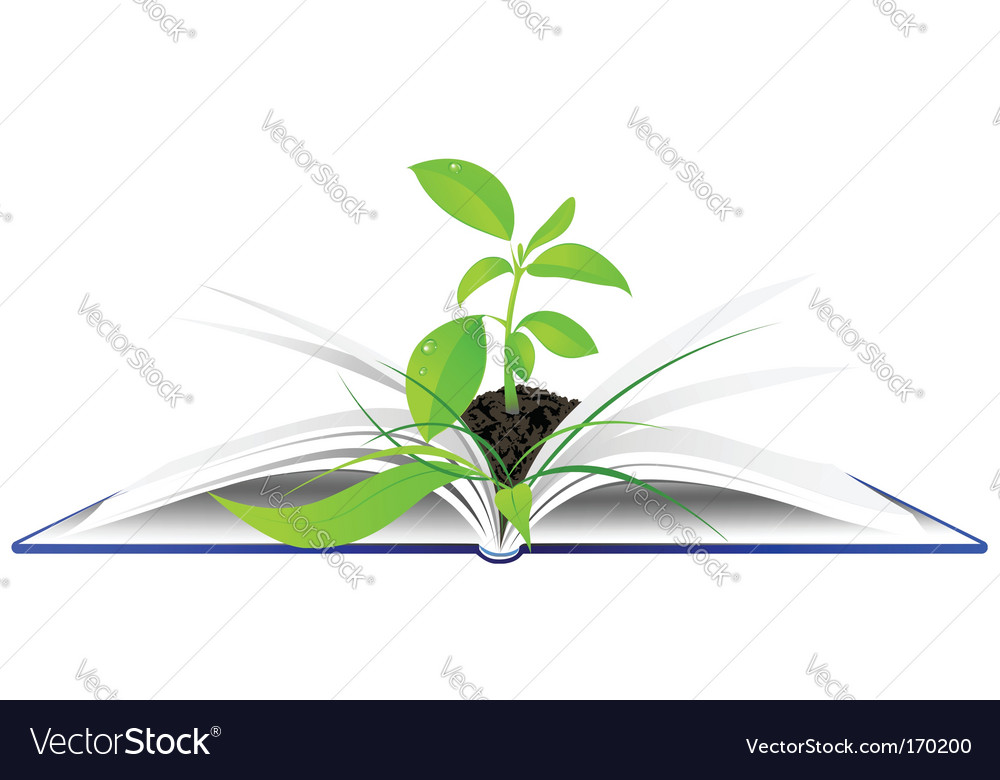 Book and plant background vector | Price: 1 Credit (USD $1)