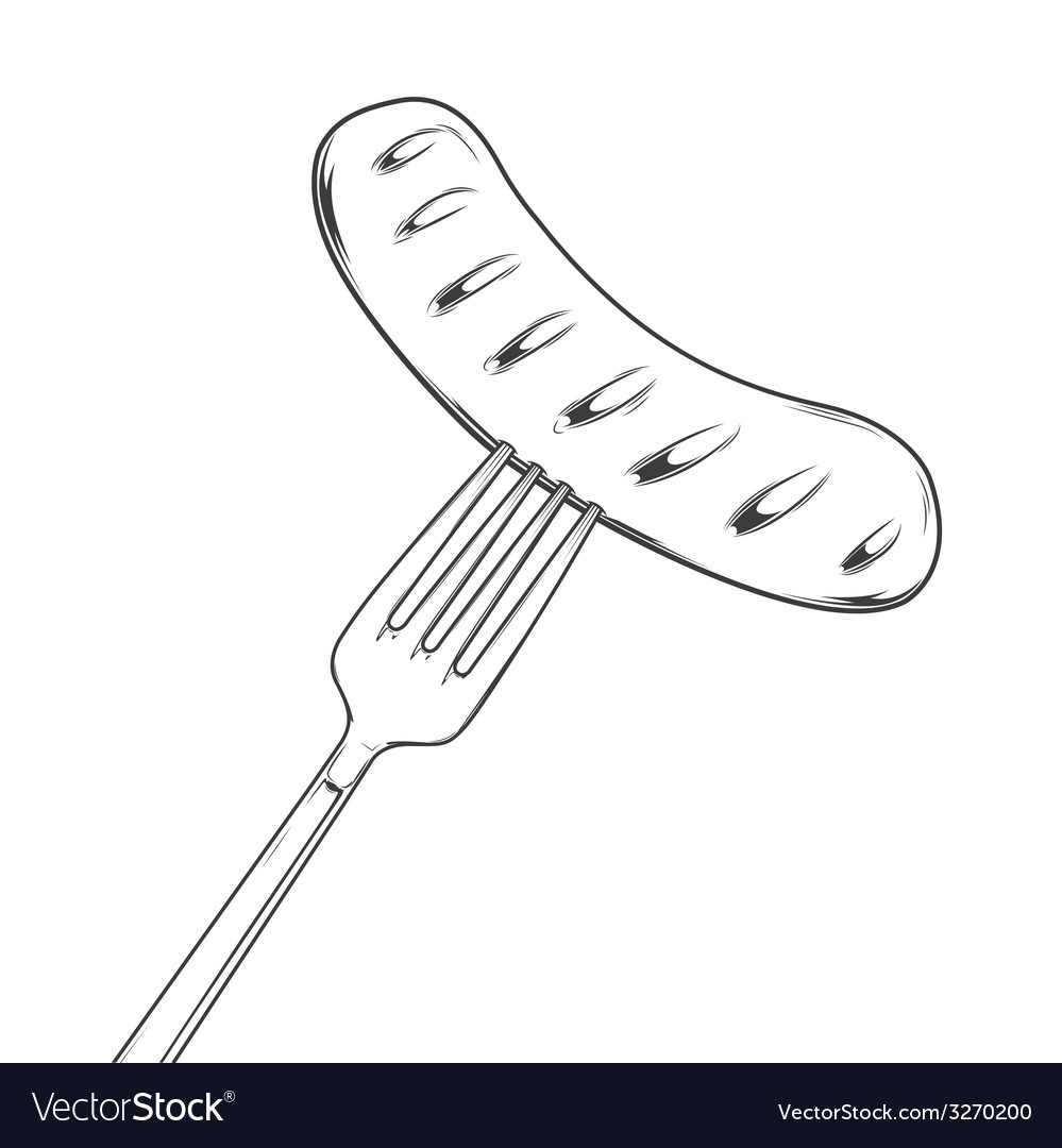 Grilled sausage on fork vector | Price: 1 Credit (USD $1)