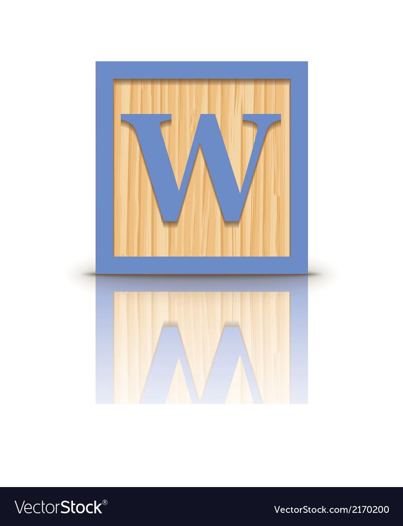 Letter w wooden alphabet block vector | Price: 1 Credit (USD $1)