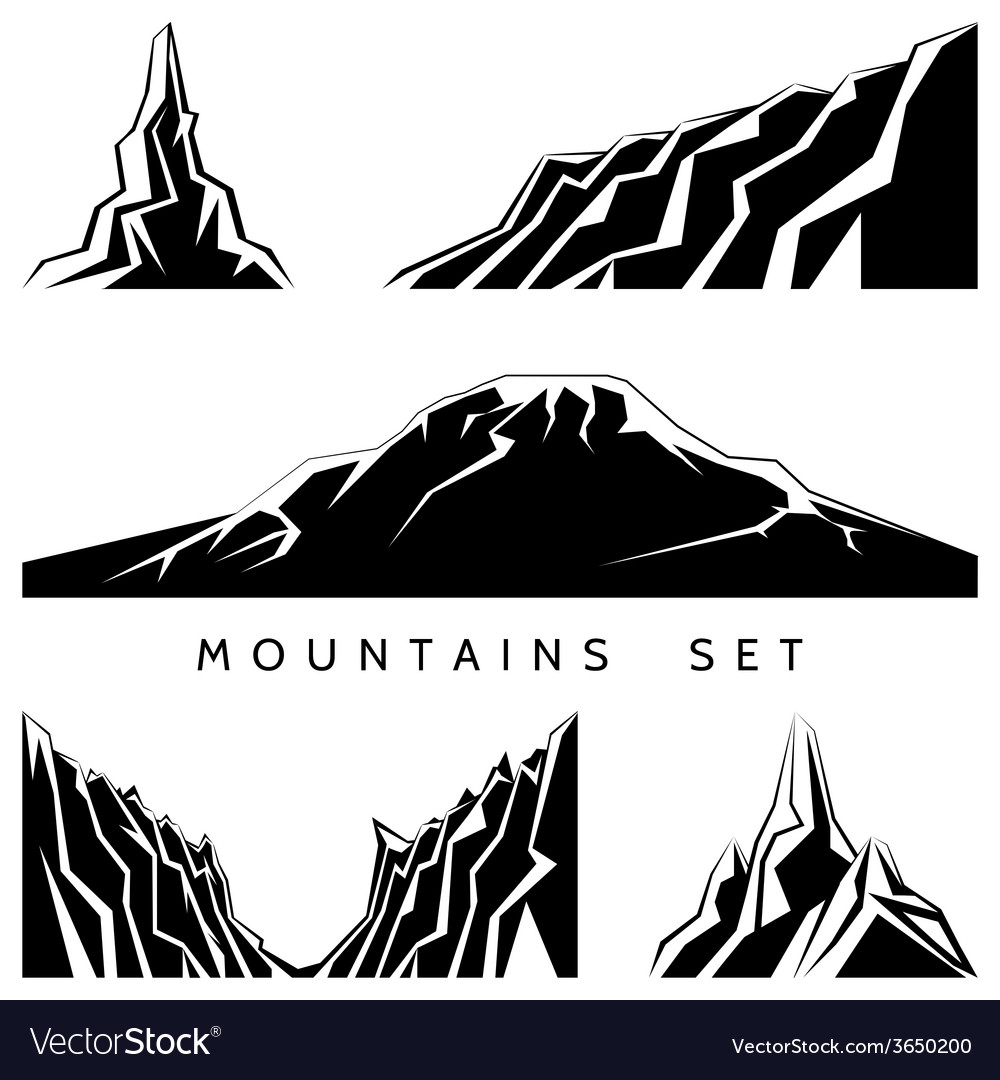 Mountains silhouettes set vector | Price: 1 Credit (USD $1)