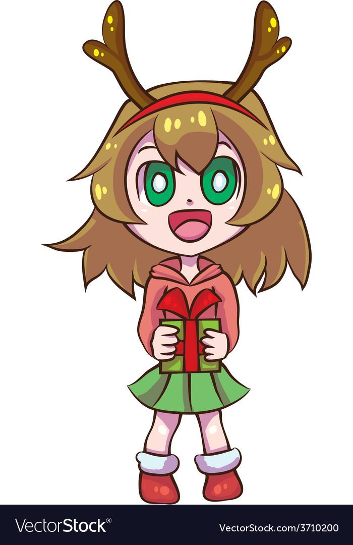 Reindeer girl vector | Price: 1 Credit (USD $1)