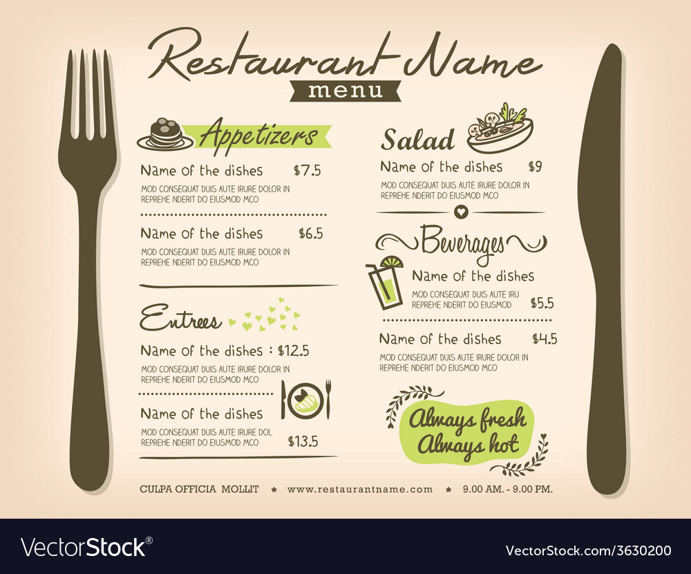 Restaurant placemat menu design template layout vector | Price: 1 Credit (USD $1)