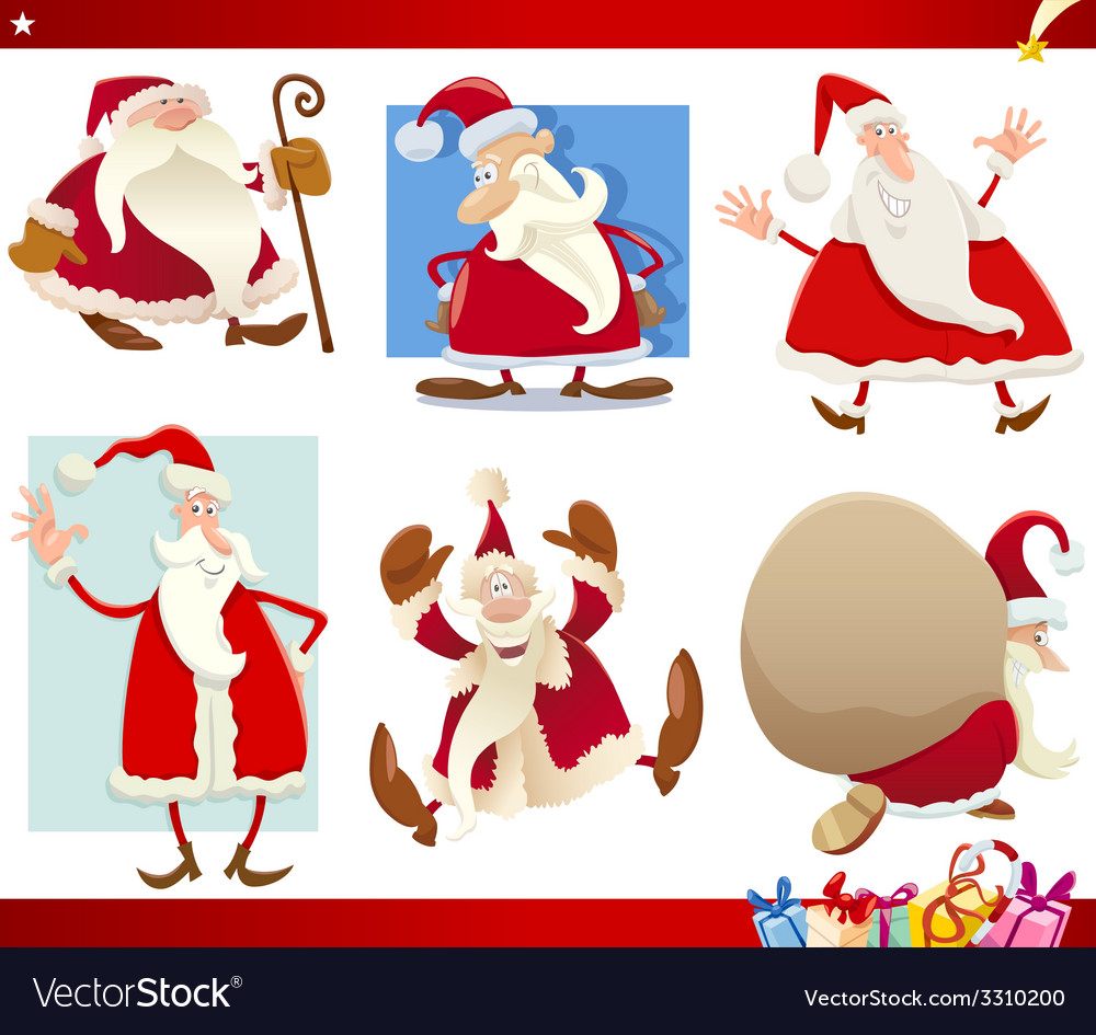 Santa claus and christmas cartoon set vector | Price: 3 Credit (USD $3)