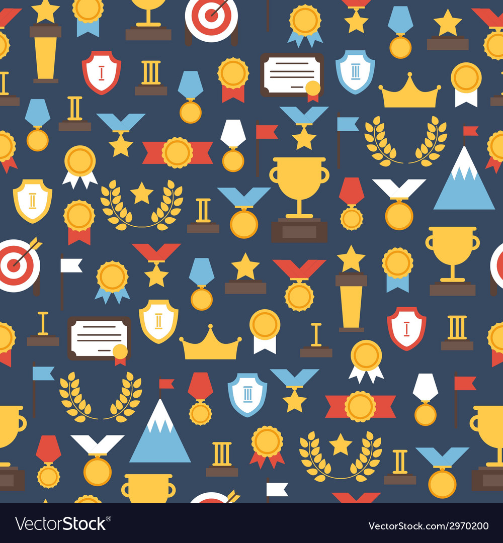 Seamless pattern of award icons colorful set of vector