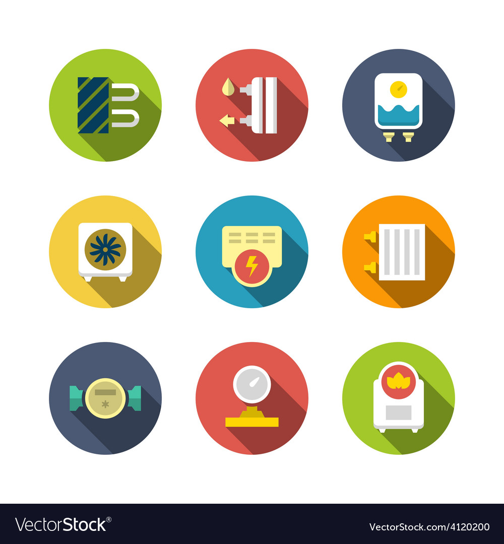 Set flat icons of heating vector   Price: 1 Credit (USD $1)