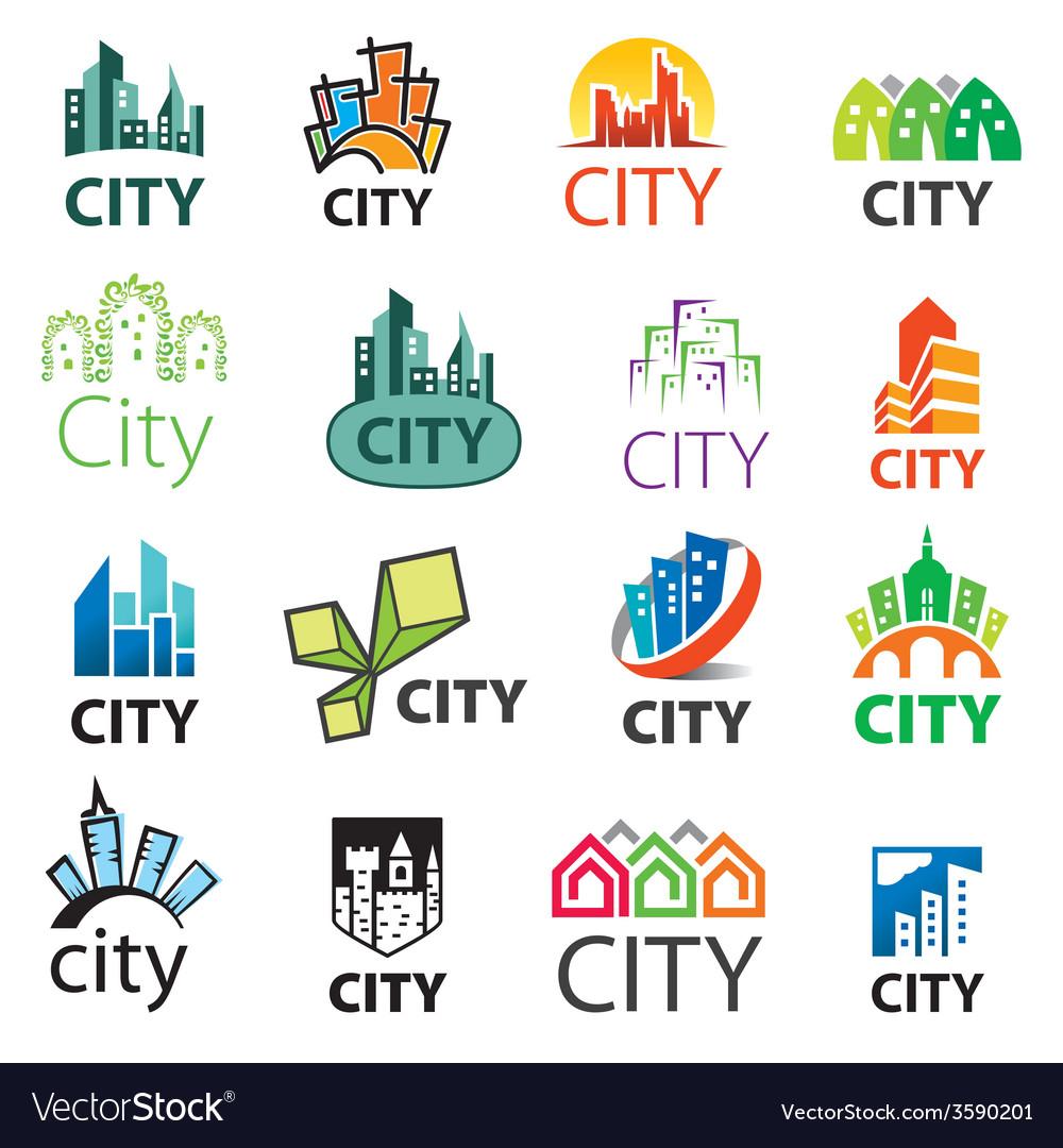 Big set of logos cities vector