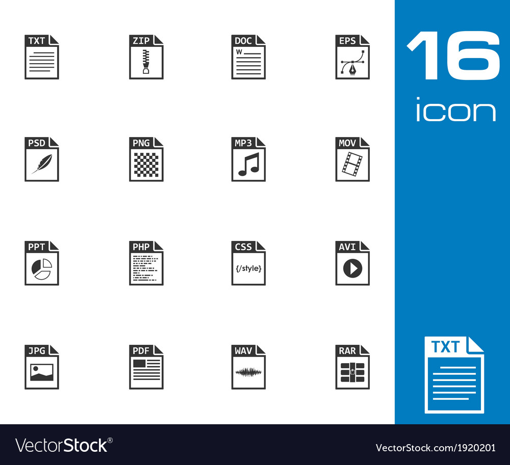 Black file type icons set vector | Price: 1 Credit (USD $1)