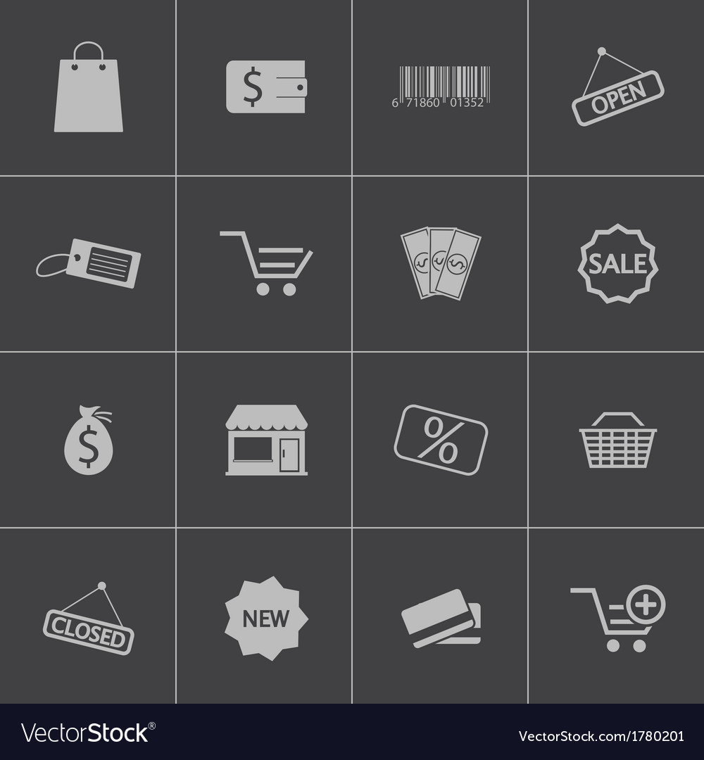 Black shop icons set vector | Price: 1 Credit (USD $1)