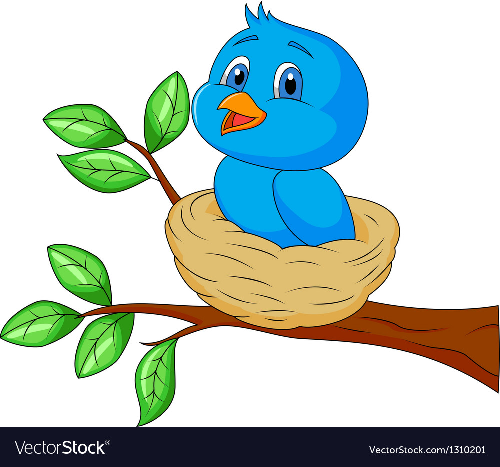 Blue bird cartoon in the nest vector | Price: 1 Credit (USD $1)