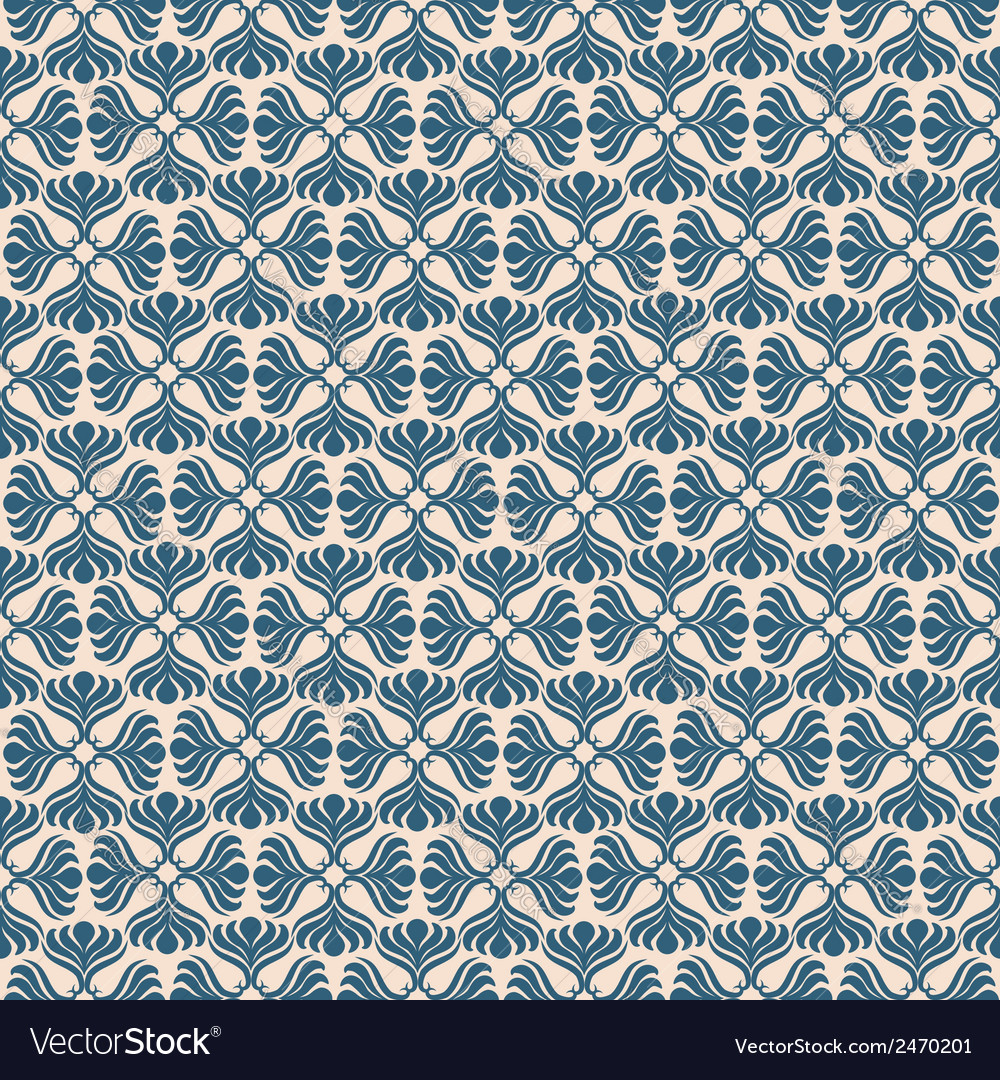 Blue retro seamless pattern on beige background vector | Price: 1 Credit (USD $1)