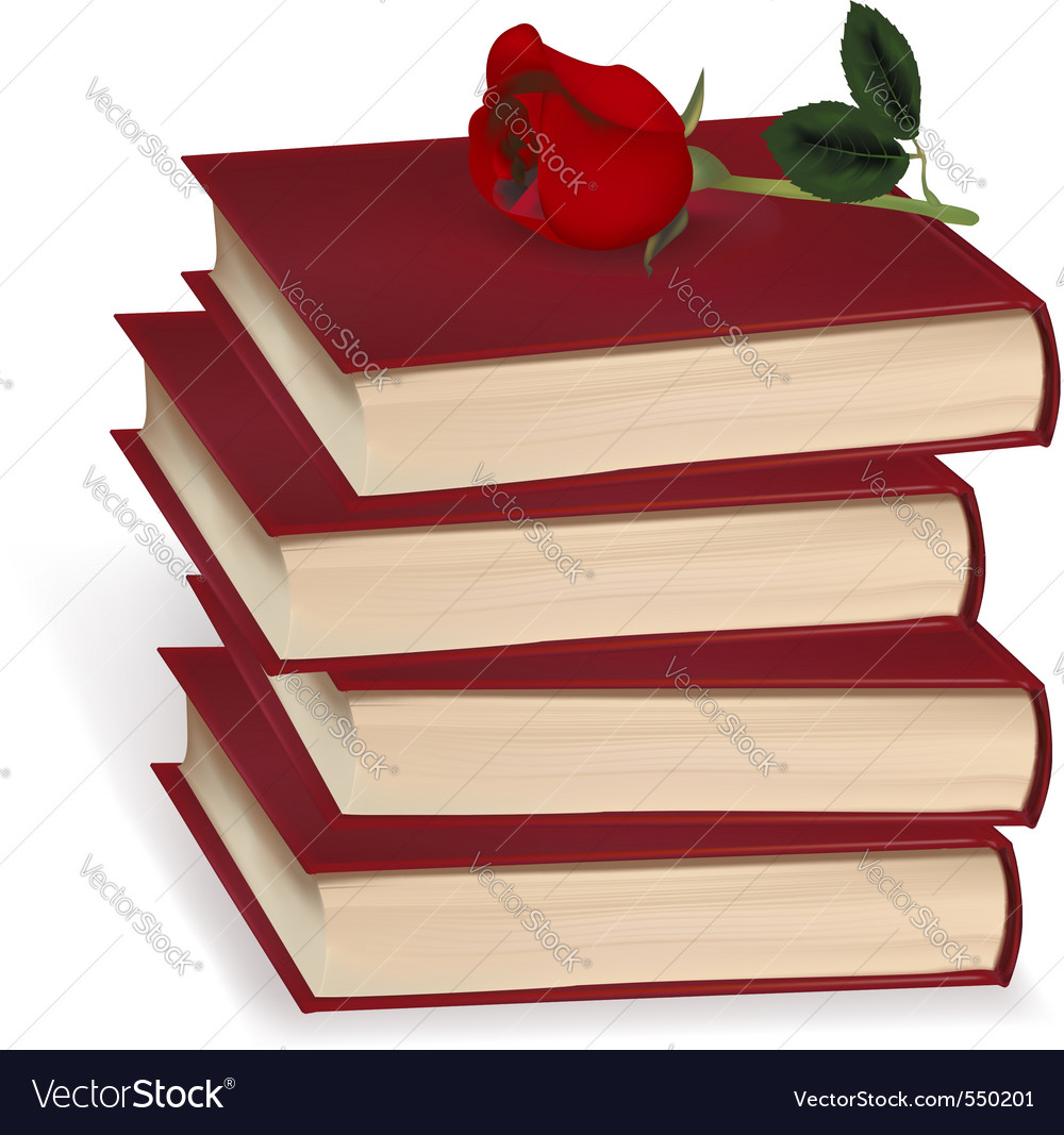 Books and red rose vector | Price: 3 Credit (USD $3)