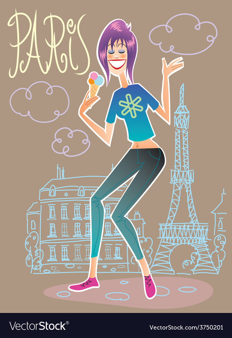 Fashionable tourist in paris eating ice cream vector | Price: 1 Credit (USD $1)