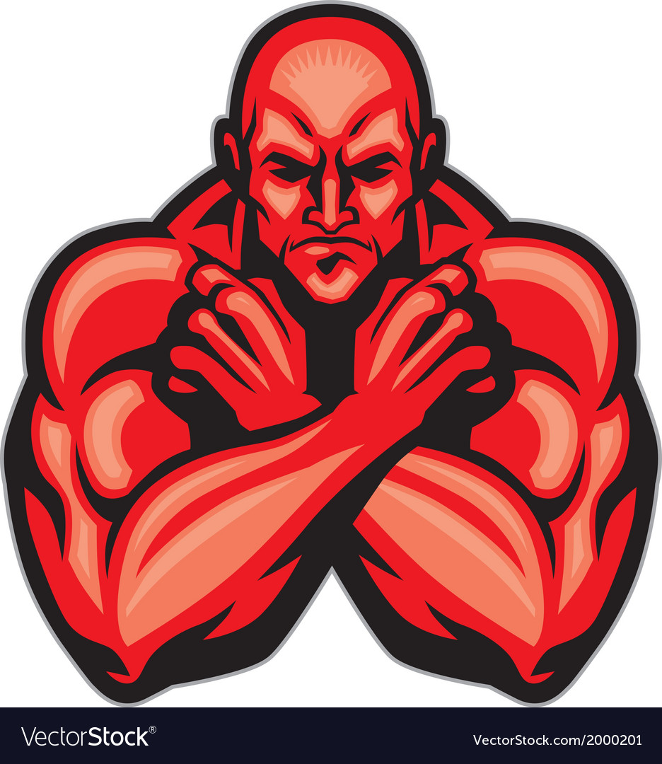 Fighter mascot crossing arm vector | Price: 1 Credit (USD $1)