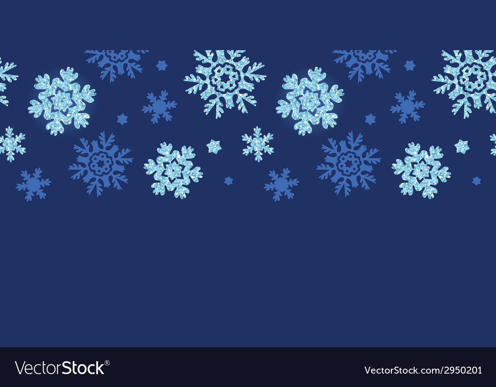 Glitter snowflakes dark horizontal border seamless vector | Price: 1 Credit (USD $1)