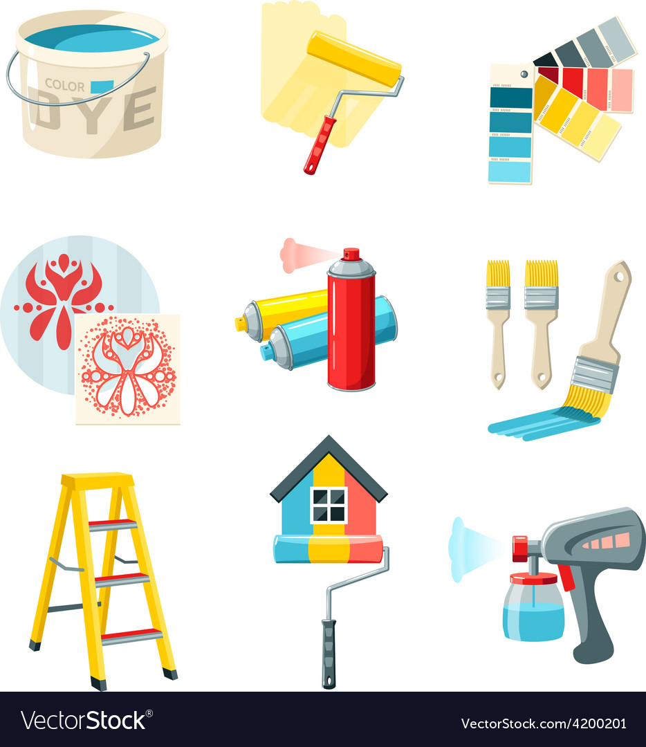 Painting work set vector | Price: 1 Credit (USD $1)