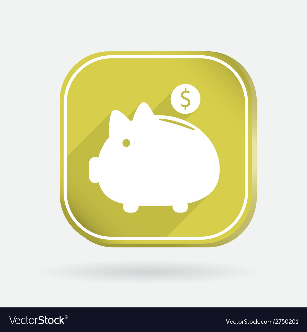 Piggy bank color square icon vector | Price: 1 Credit (USD $1)