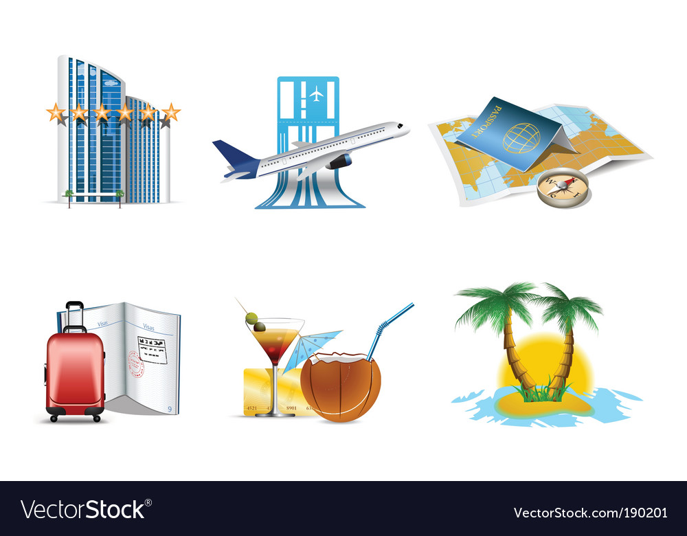 Vacation and travel icons vector | Price: 3 Credit (USD $3)
