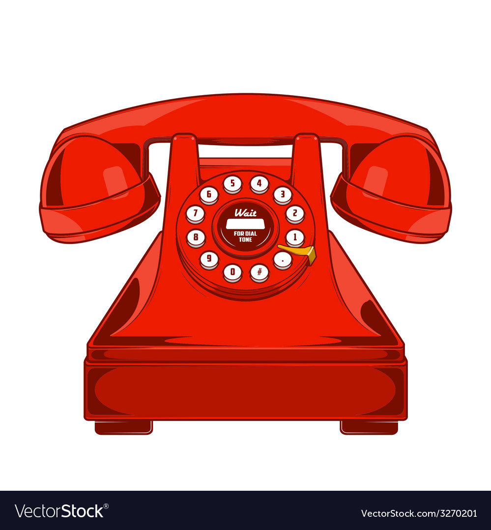 Vintage red phone with buttons dial ring vector | Price: 1 Credit (USD $1)